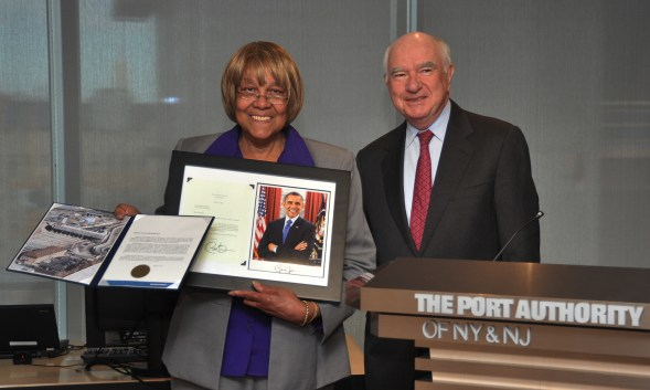 Today Liz Branch was recognized formally by Chairman John Degnan and the entire Port Authority Board of Commissioners at the first meeting of the Board in its new home at 4 World Trade Center.