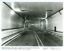 The Lincoln Tunnel at completion is 1.5 mile long stretch connecting Weehawken, New Jersey to Manhattan at 39th St. It is to become the busiest vehicular tunnel in the world.