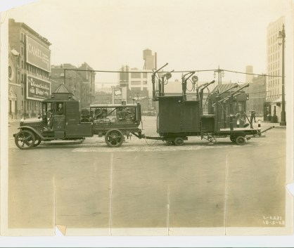 In this photo dated 1928, the first washing machine for the Holland Tunnel, a new-fangled contraption in its day.