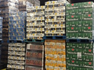 These crates of beer inside the warehouse at the Red Hook Terminal possibly are destined for a Super Bowl party somewhere in the region