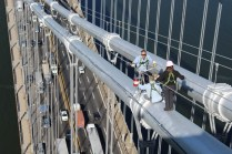 GWB crew gives pink hue to bridge cable lights