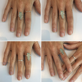 4 images showing different ways of wearing a seaglass ring and stacking rings.