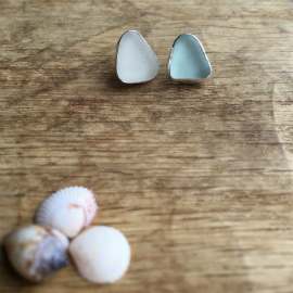 Seaglass Studs - white and aqua.