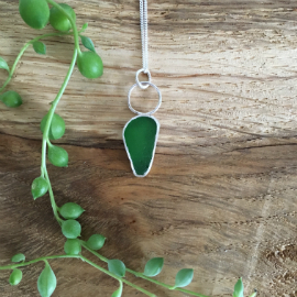 Green Seaglass necklace from Bournemouth made by Bess in Seaglass Sessions.