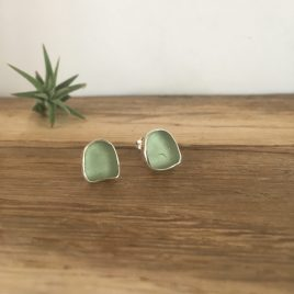 St Mawes Pale Sage Green Seaglass Studs