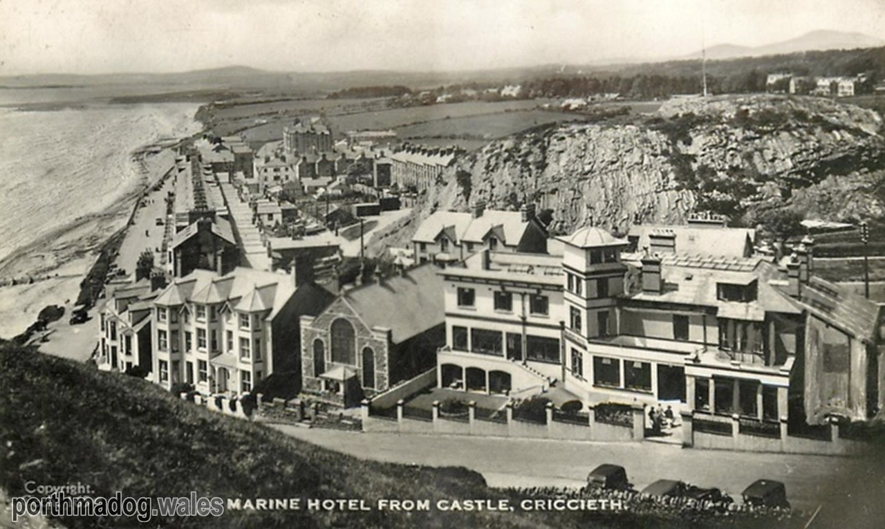 Postcard of The Marine Hotel from Criccieth Castle