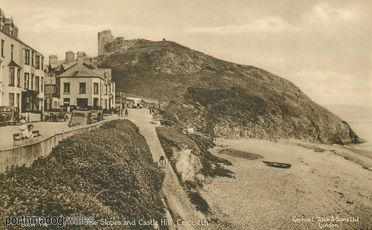 Postcard of Criccieth Slopes and Castle Hill