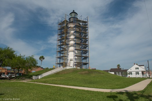 March 1, 2017. Port Isabel lighthouse begins re-stuccoing.