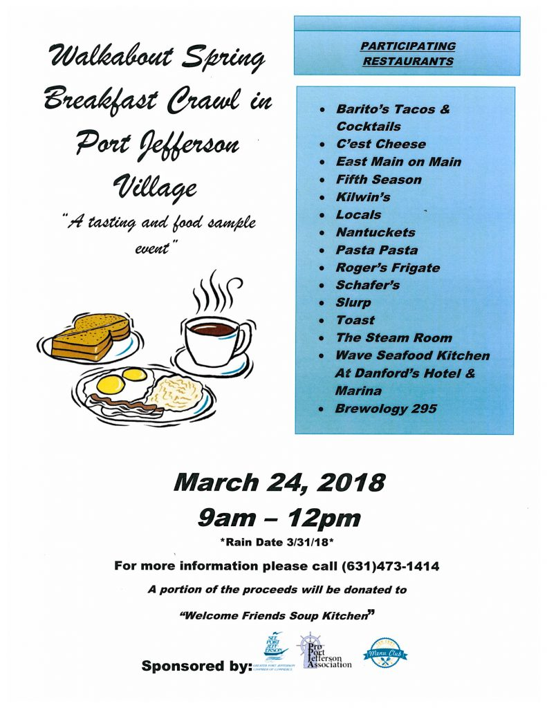 Walkabout Spring Breakfast Crawl in Port Jeff Village
