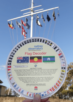 The flagstaff on Sydney's Observatory Hill provides a decoder to ID the flags.