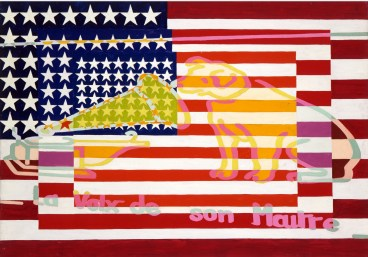 Alain Jacquet: Camouflage Jasper Johns, La voix de son Maître, 1963. Oil on canvas.