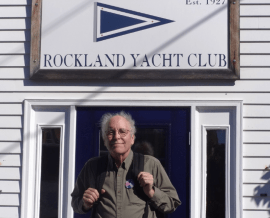 Rockland, Maine: Rockland Yacht Club burgee…When we got off the cruise ship in Rockland I saw the Rockland Yacht Club. Since I don't have its burgee, Kathleen took my photo so I could send the club an image with a request for an old burgee.