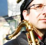David Layton with Sax on Shoulder