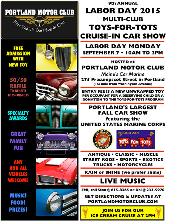9th Annual Toys-for-Tots Labor Car Show Monday, September 7, 2015 From 10 AM-2 PM