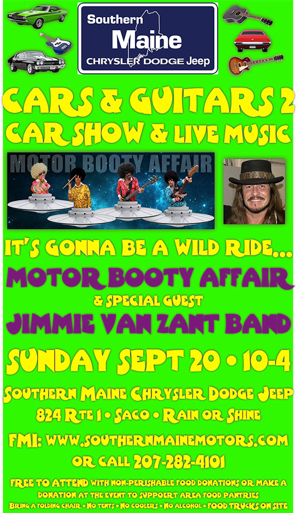 Cars and Guitars: Classic Car Show and Classic Southern Rock Concert with Jimmie Van Zant on September 20th, 2015 in Saco