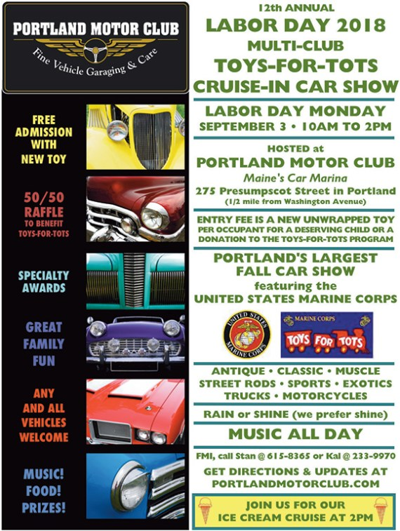 12th Annual Toys-for-Tots Labor Day Car Show Monday, September 3, 2018