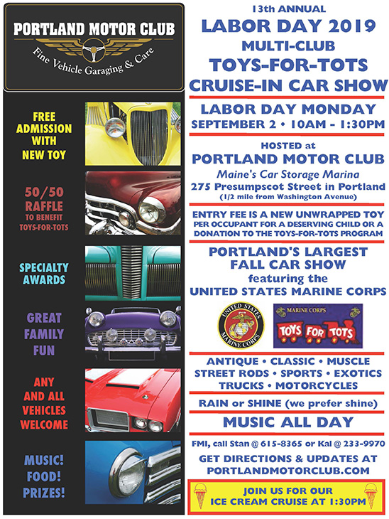13th Annual Toys-for-Tots Labor Day Car Show Monday, September 2, 2019