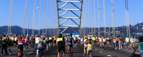 Bridge Pedal on Fremont Bridge. Portland is a HUGE cycling town.