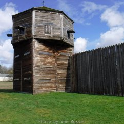 Built in 1845 to protect the interests of the Hudson Bay Co. Fort Vancouver form the american pioneers. After the 1846 Treaty and the departure of the British warships the forts days were numbered.