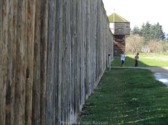 The walls of the fort were made of douglas fir post that were about 15 feet tall.