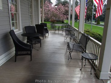 Front Porch of the Grant House. In summer you can dine on the porch.