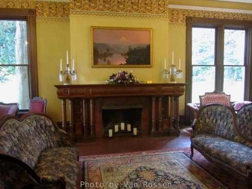 The room has been restored with the fire mantel being original to the house.