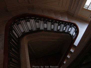 Looking down the ground stair case.