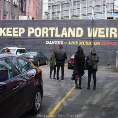 "One of the top spot for doing your selfie in Portland. It was supposed to be ""Keep Portland Wired"" but the printer misspelled the Bumper Sticker. The phrase is now infers the creativity of Portland. Locate on the back back Dante's building across the street from Voodoo Doughnuts downtown."