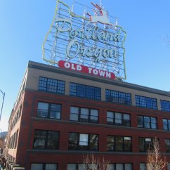 Long time local know it as the white stage sign. White Stage swimwear occupied this building for decades and this was their sign. It has been changed several times over the years and now is a symbol for Old Town Portland. Best viewed from the walk way on the Burnside Bridge downtown. And that just happens to be right around the corner form Voodoo Doughnuts.