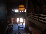 Looking down from the Rams Head bar to the main lodge.
