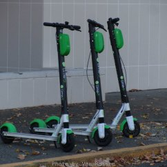The green of the Lime e-scooters make them easy to spot.
