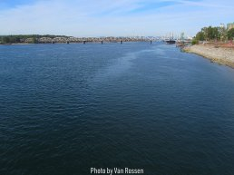 Viewing down river to the railroad bridge that crosses the Columbia River.
