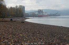Fisherman and commerce along the bank of the Willamette