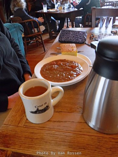 Most of their meals are sized for a lumber jack but just getting the stew with cornbread and coffee you can size things down.