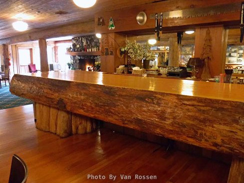 The bar counter in the downstairs conference room is a single slab from an old growth tree.