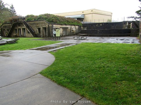 The interpretive center sits in front of Battery David at the Lewis and Clark Interpretive Center.