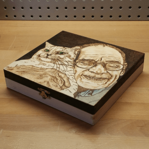 Man with Cat Pet Memorial Box - 2017