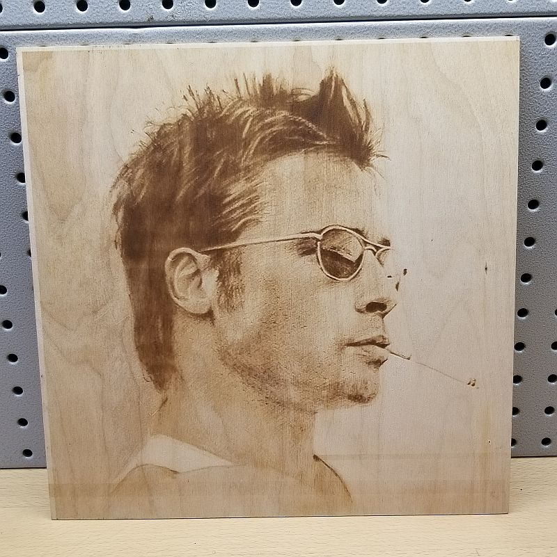 Brad Pitt Laser Engraved on Wood
