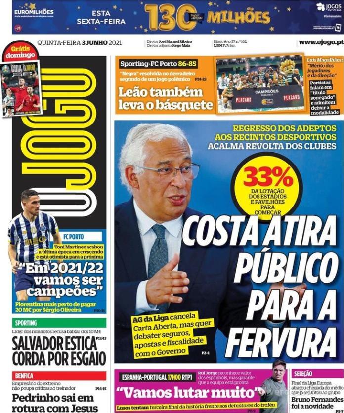 Capas jornais desportivos 03-06-2021