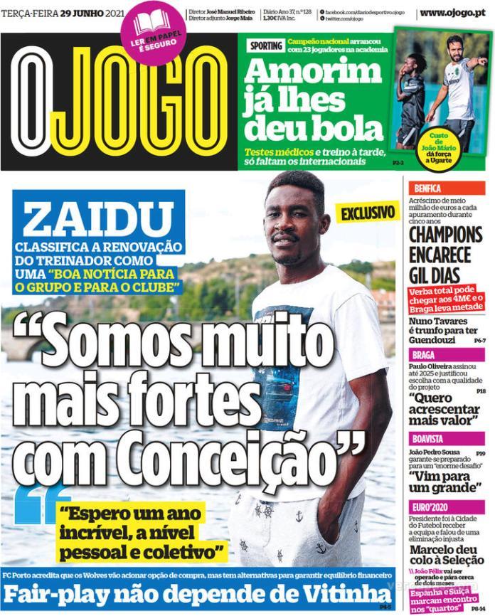 Capas jornais desportivos 29-06-2021