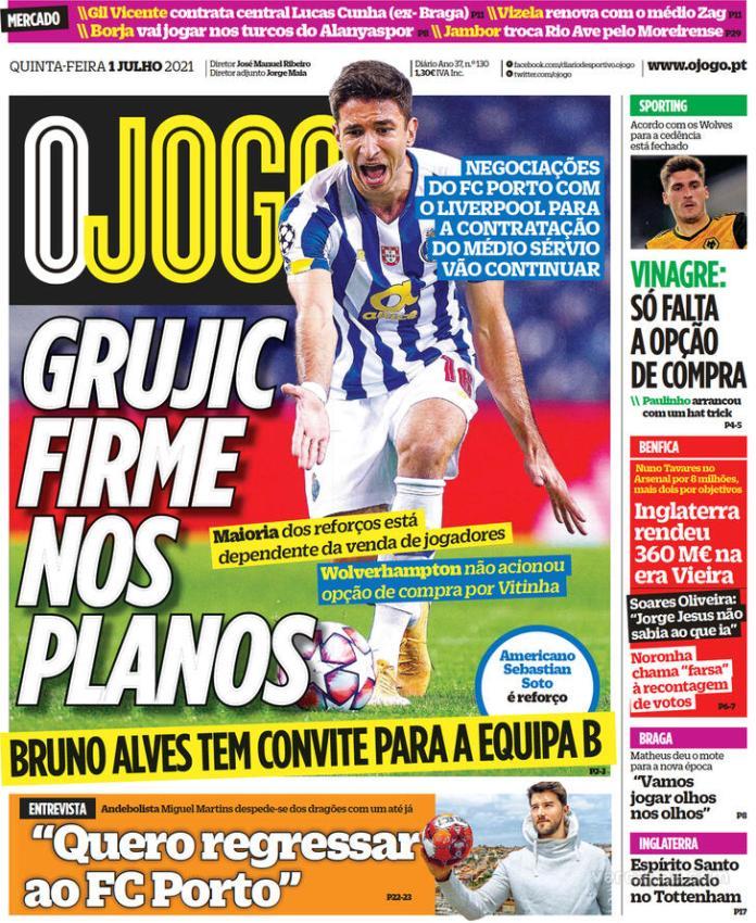 Capas jornais desportivos 01-07-2021