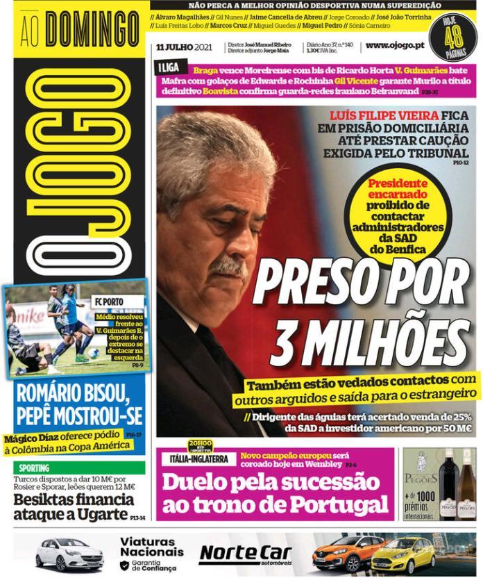Capas jornais desportivos 11-07-2021