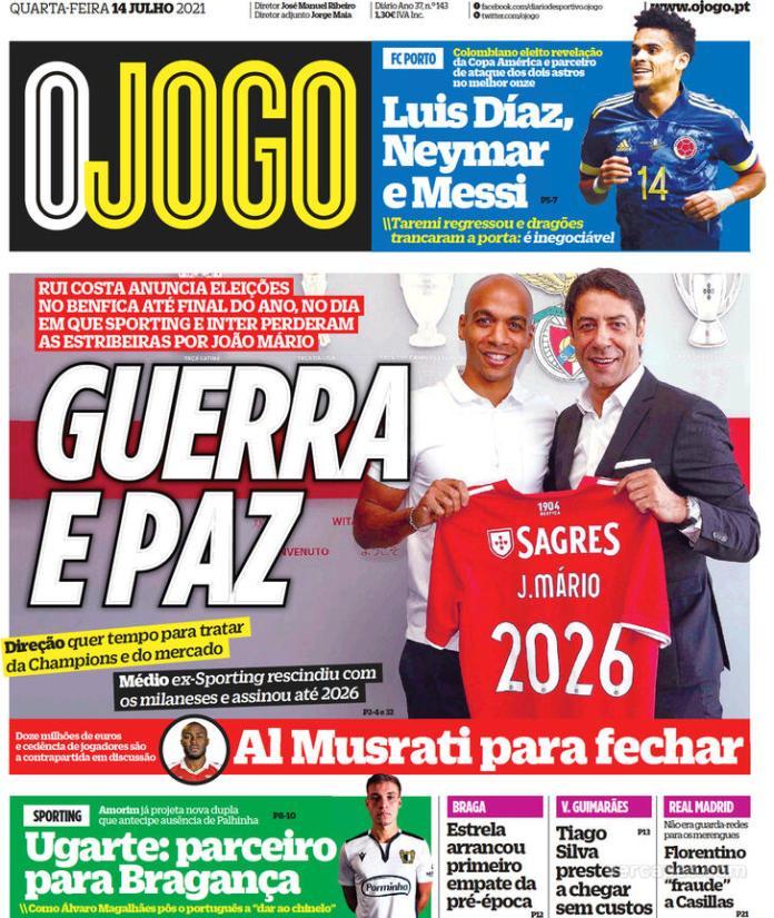 Capas Jornais desportivos 14-07-2021