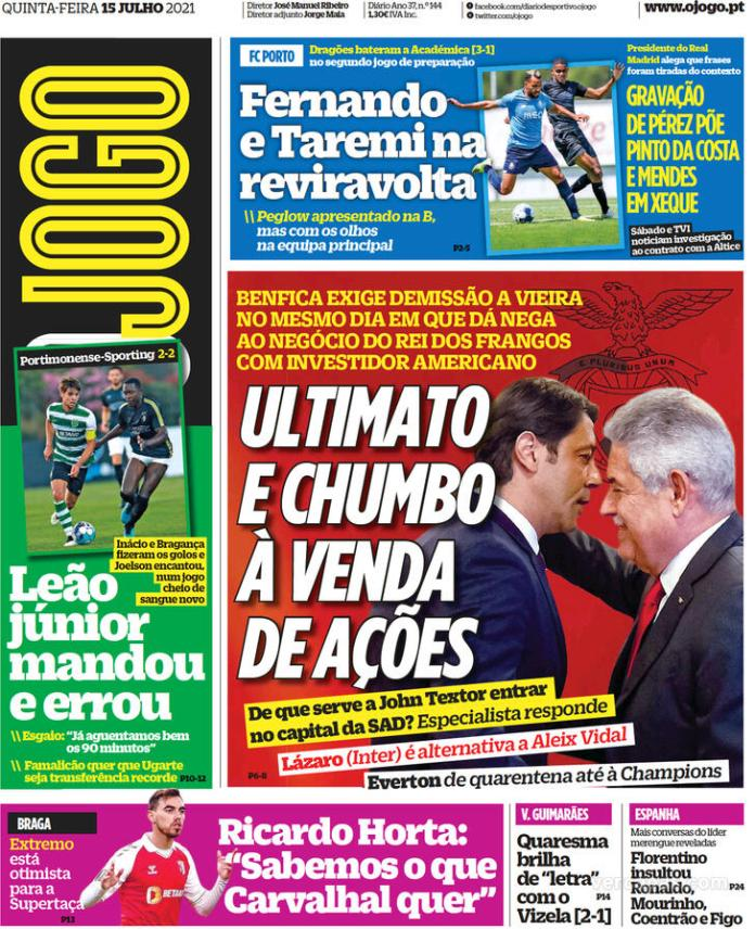 Capas Jornais desportivos 15-07-2021