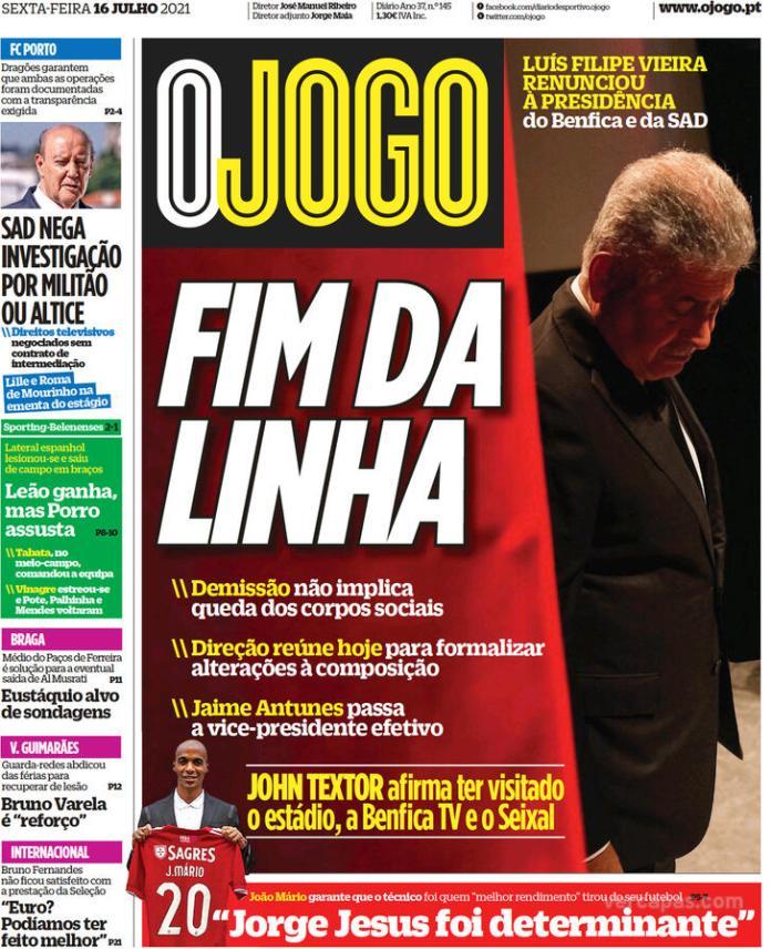 Capas Jornais desportivos 16-07-2021