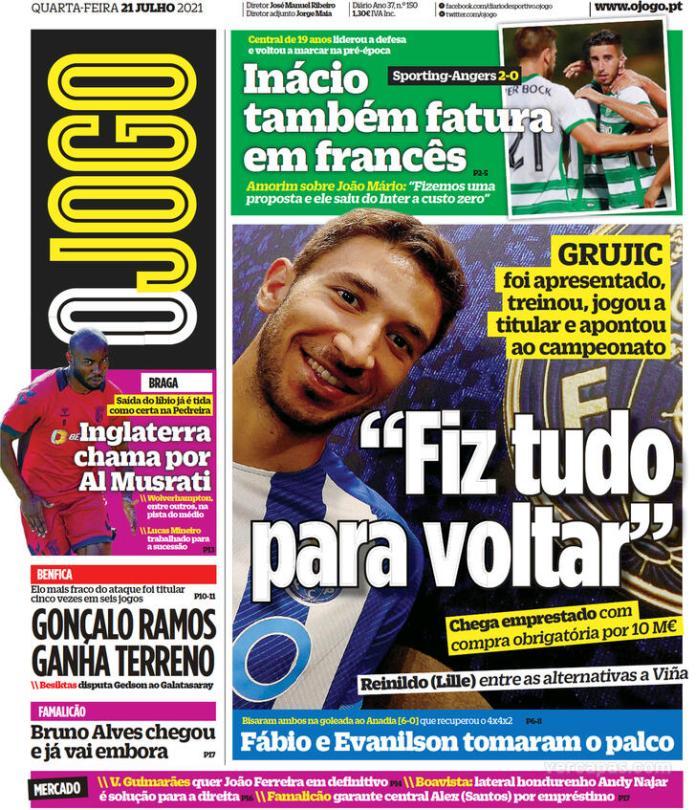 Capas Jornais desportivos 21-07-2021