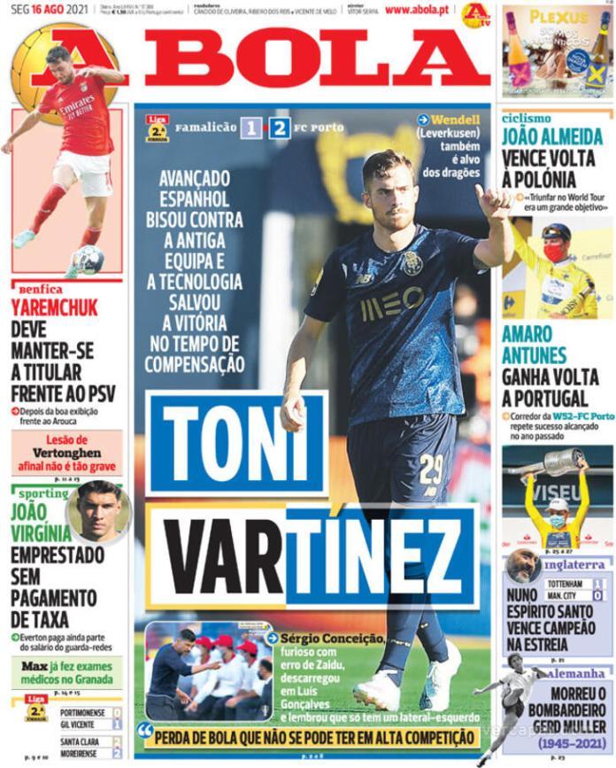 Capas Jornais desportivos 16-08-2021