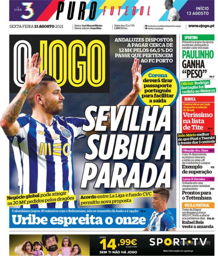 Capas Jornais desportivos 13-08-2021