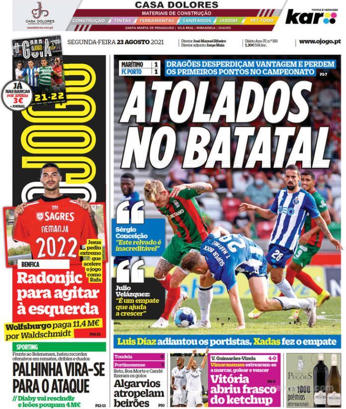 Capas Jornais desportivos 23-08-2021