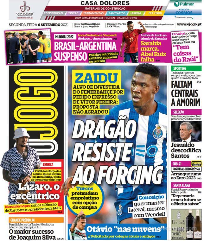 Capas Jornais desportivos 06-09-2021